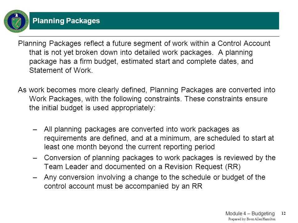 Work Packages/Planning Packages