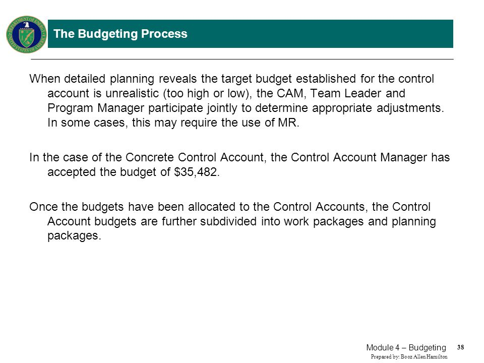 The Budgeting Process Here's the distributed budget for the entire ACME WBS. Remember, this does not include Profit/Fee, or Management Reserve.