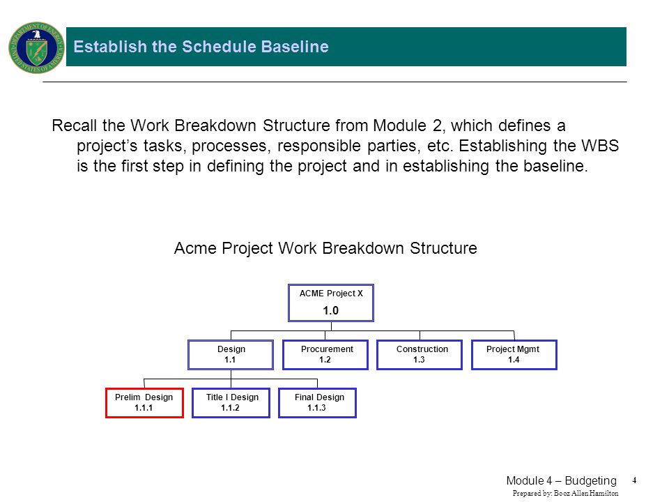 Establish the Schedule Baseline