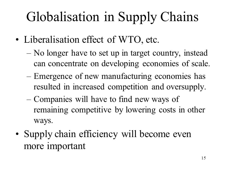 Globalisation in Supply Chains
