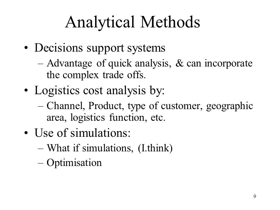 Analytical Methods Decisions support systems