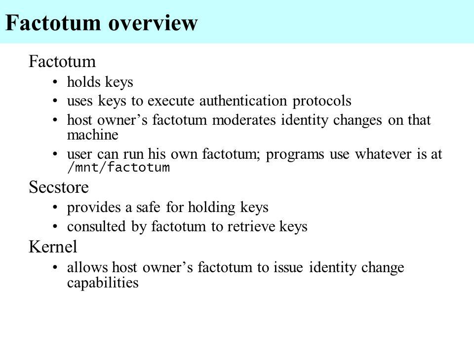 Factotum overview Factotum Secstore Kernel holds keys