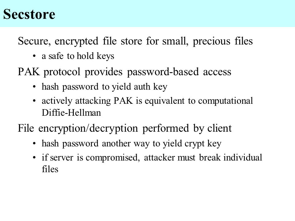 Secstore Secure, encrypted file store for small, precious files