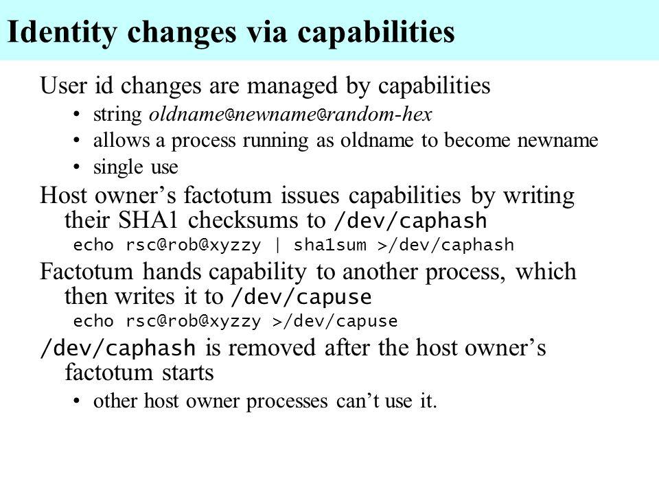 Identity changes via capabilities
