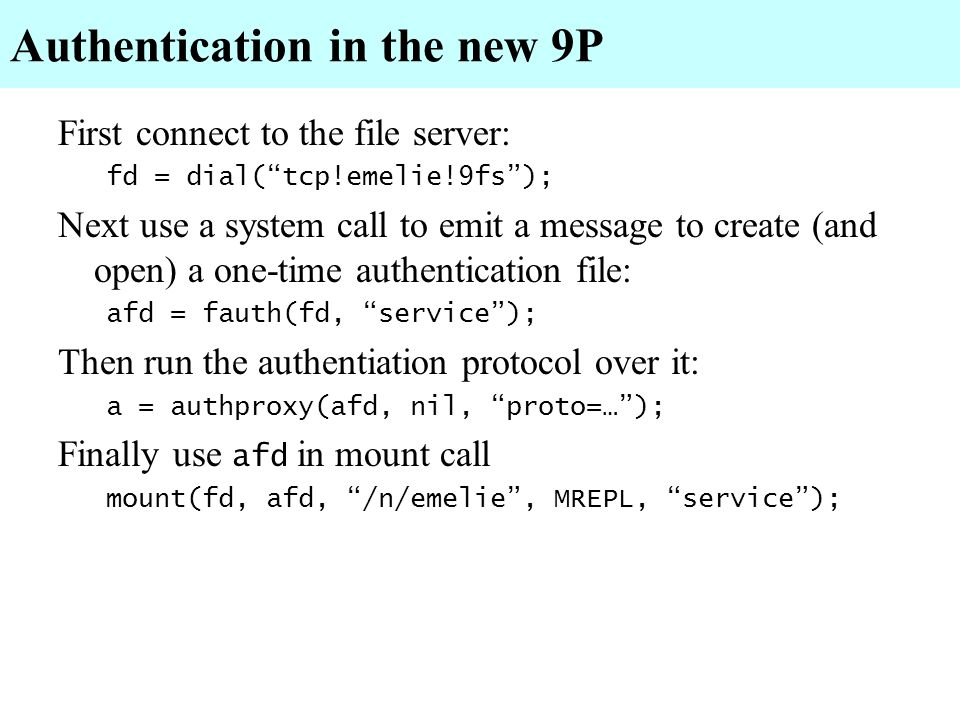 Authentication in the new 9P
