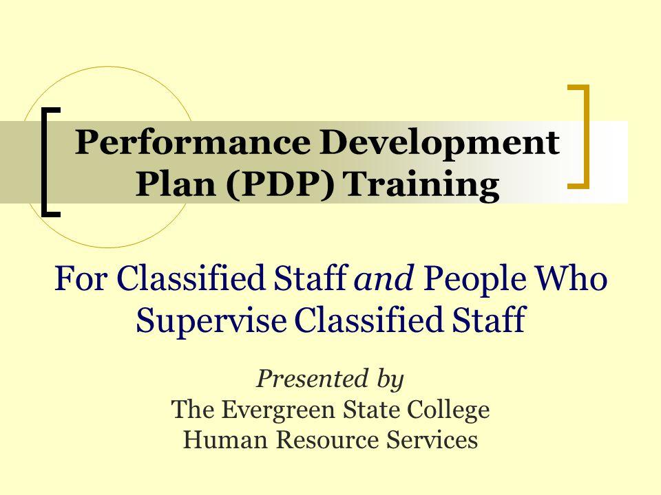 Performance Development Plan (PDP) Training
