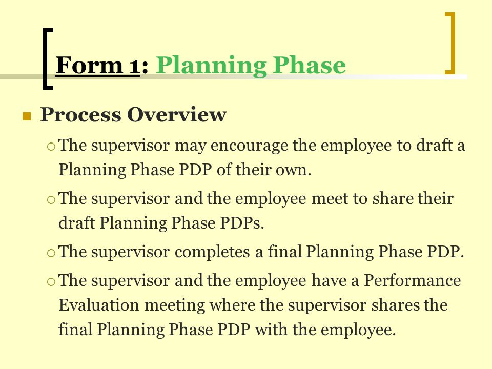 Form 1: Planning Phase Process Overview