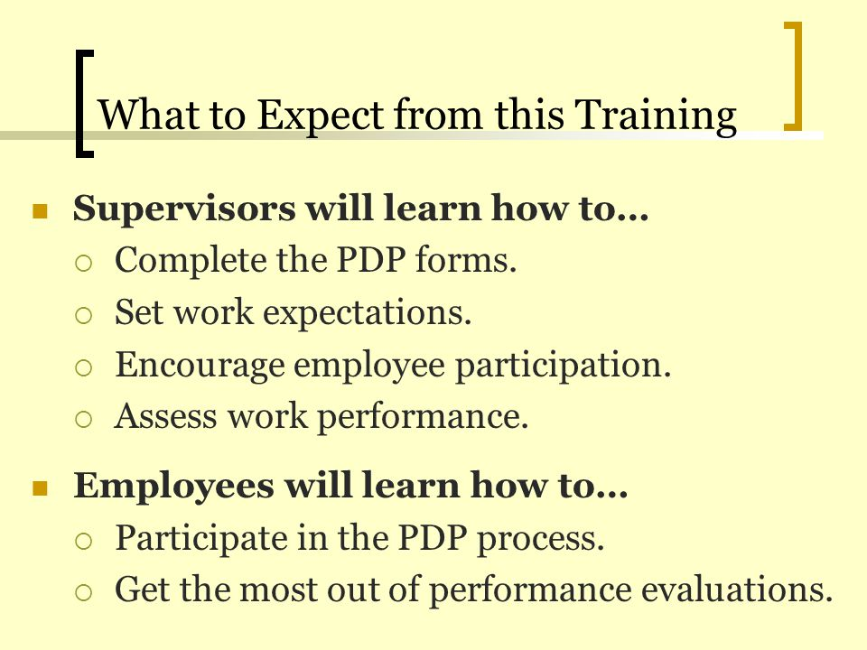 What to Expect from this Training