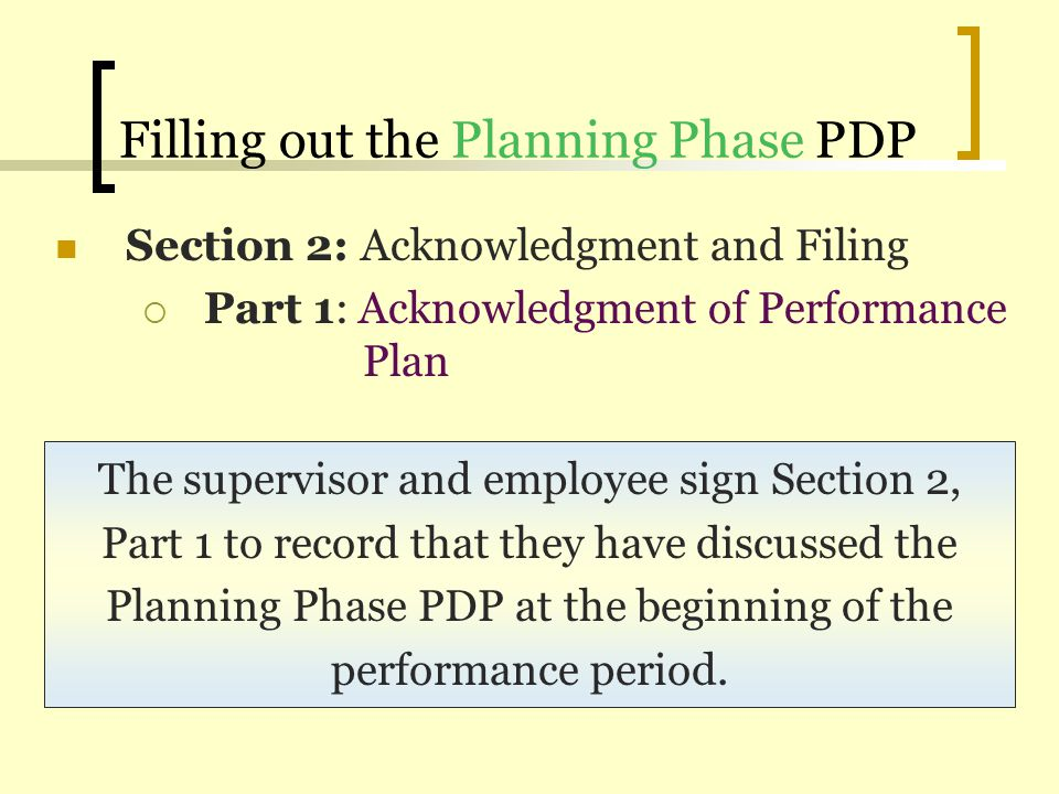 Filling out the Planning Phase PDP