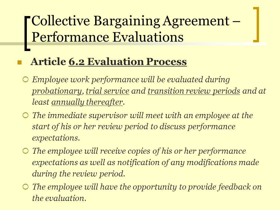Collective Bargaining Agreement – Performance Evaluations