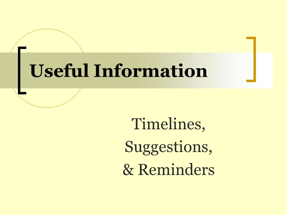 Timelines, Suggestions, & Reminders