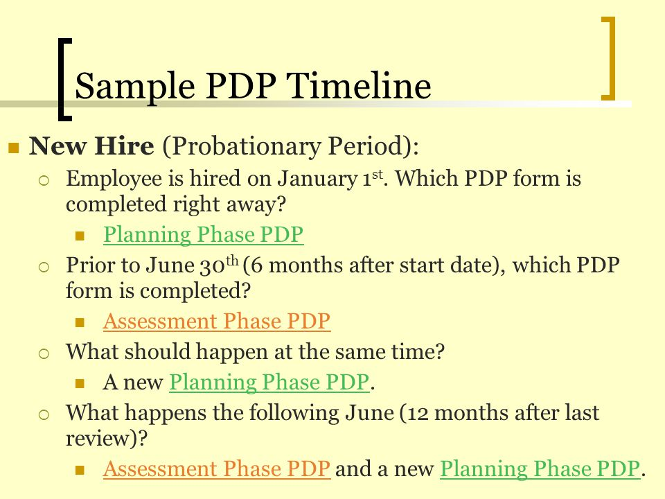 Sample PDP Timeline New Hire (Probationary Period):