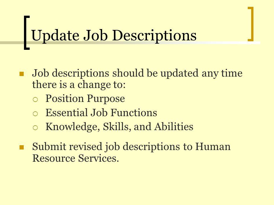 Update Job Descriptions