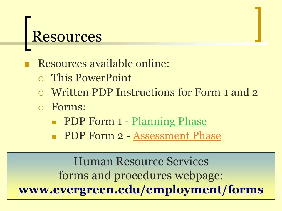 Resources Human Resource Services forms and procedures webpage: