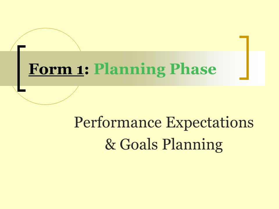 Performance Expectations & Goals Planning