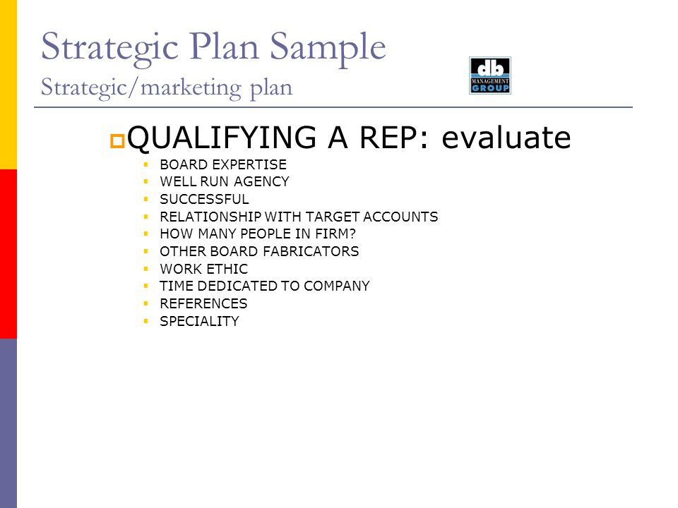 Strategic Plan Sample Strategic/marketing plan
