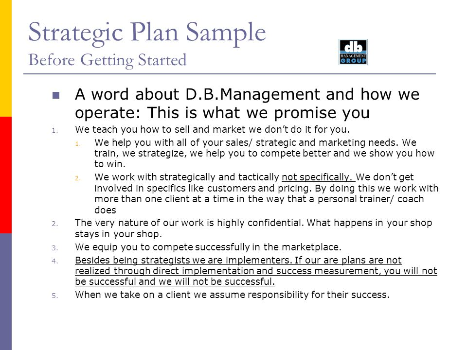 Strategic Plan Sample Before Getting Started