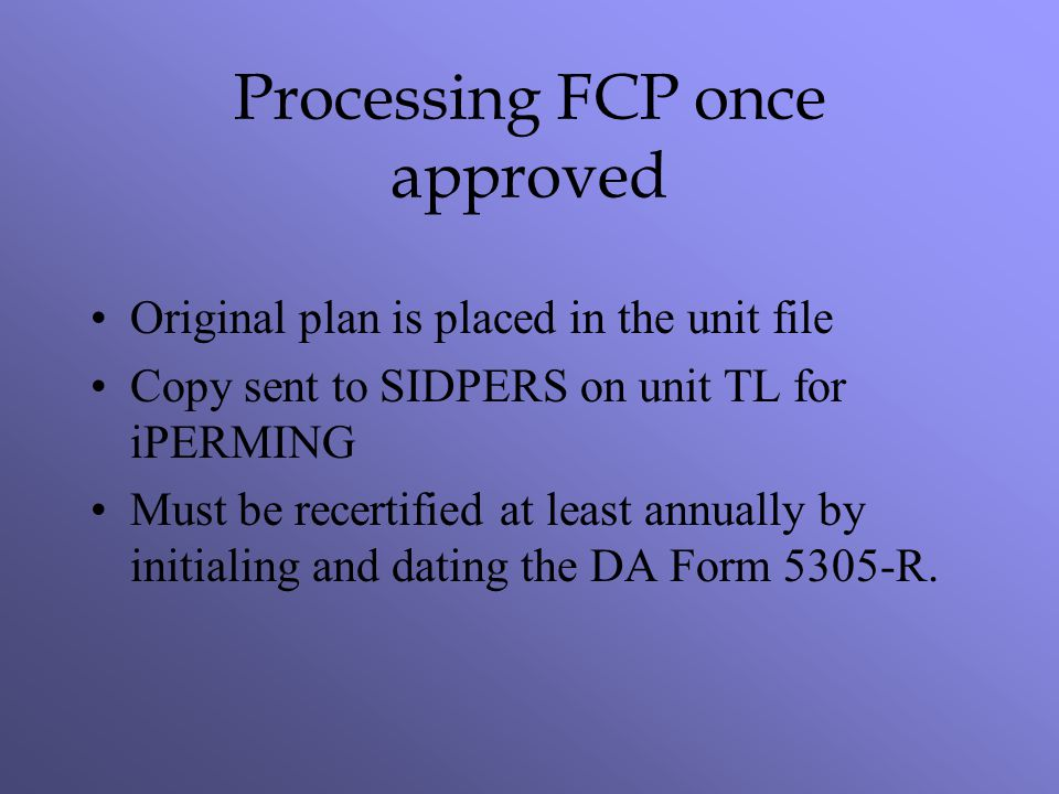 Processing FCP once approved