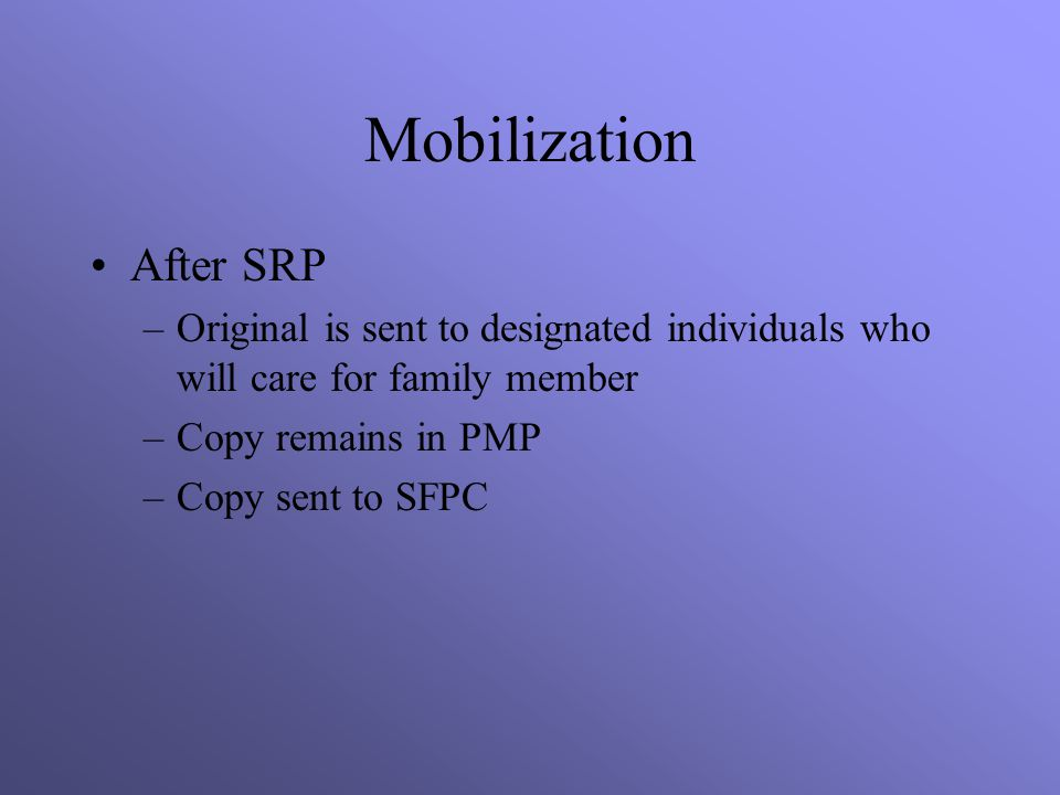 Mobilization After SRP
