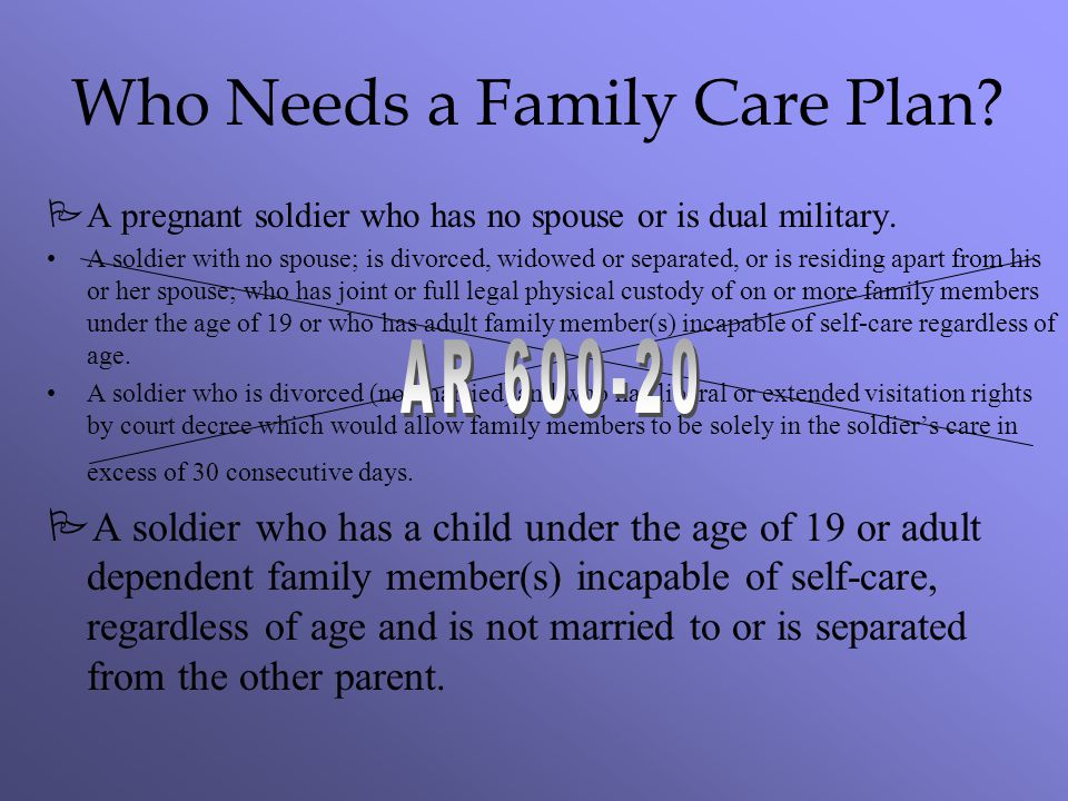 Who Needs a Family Care Plan