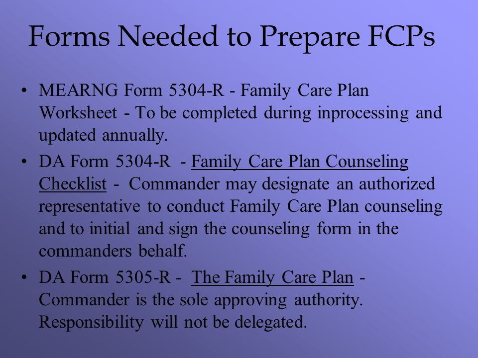 Forms Needed to Prepare FCPs