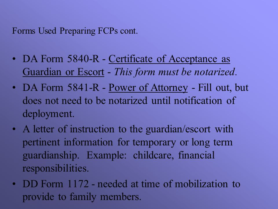Forms Used Preparing FCPs cont.