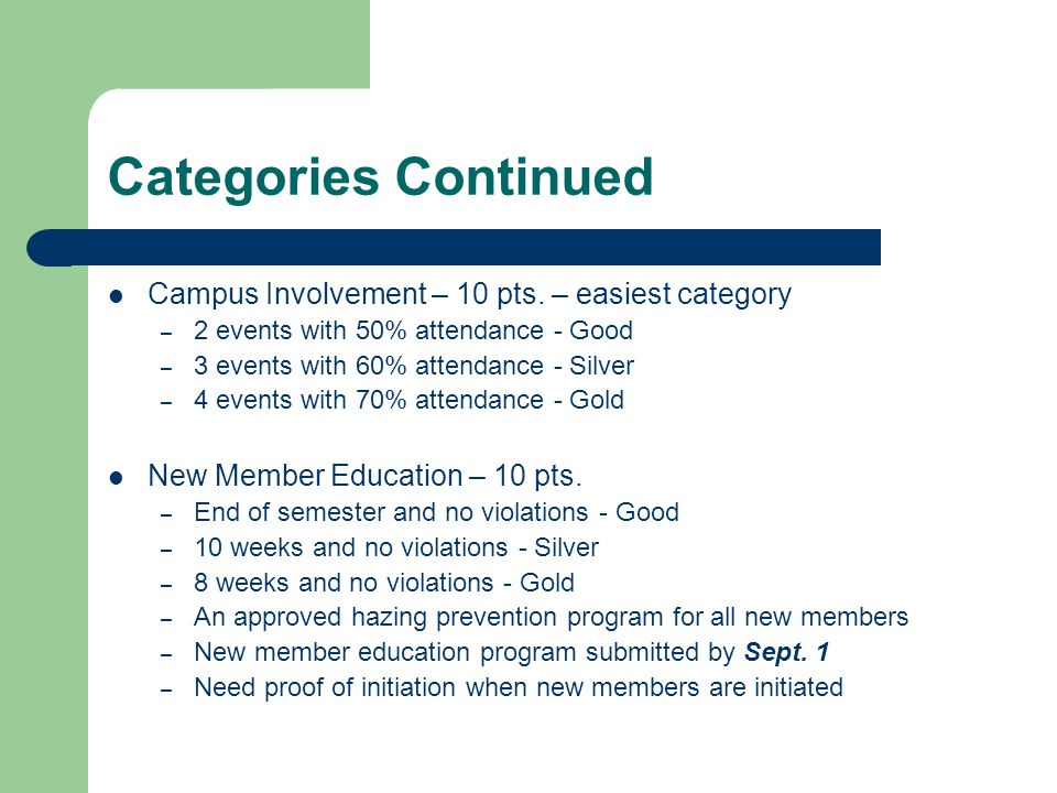 Categories Continued Campus Involvement – 10 pts. – easiest category