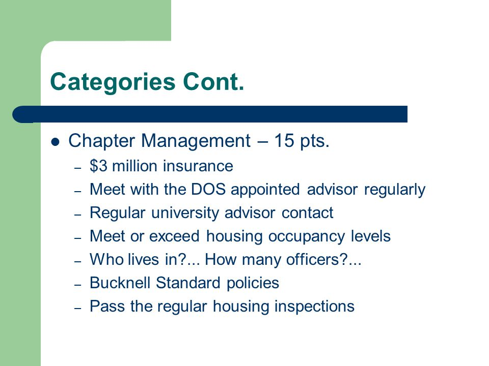 Categories Cont. Chapter Management – 15 pts. $3 million insurance
