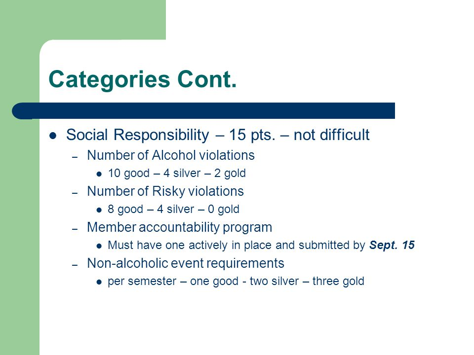 Categories Cont. Social Responsibility – 15 pts. – not difficult
