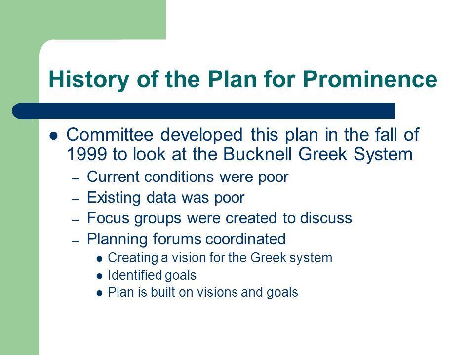 History of the Plan for Prominence