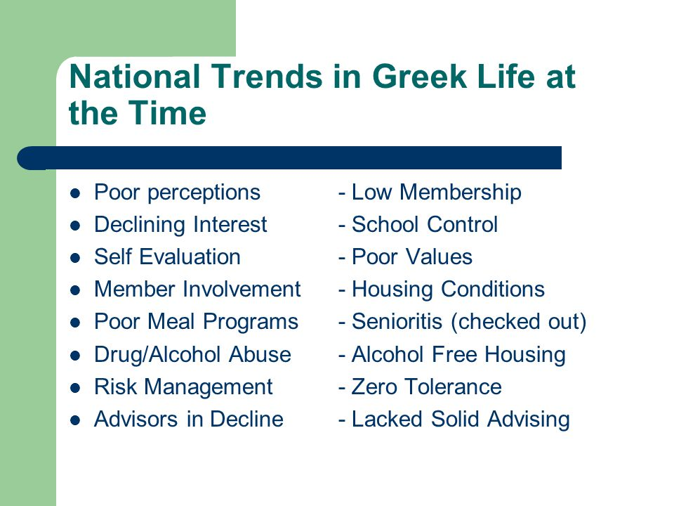 National Trends in Greek Life at the Time