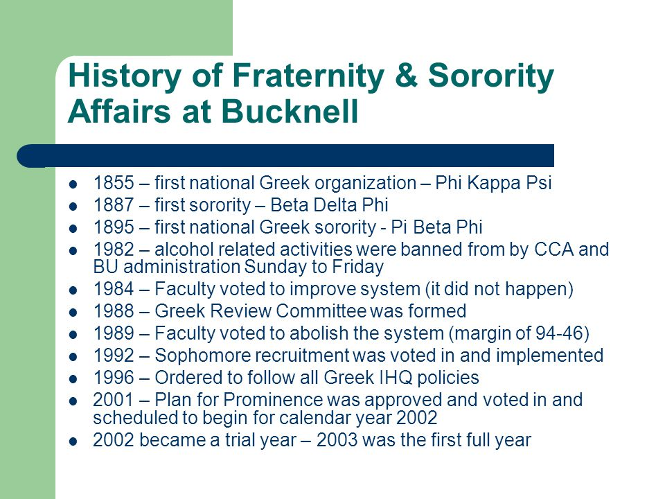 History of Fraternity & Sorority Affairs at Bucknell
