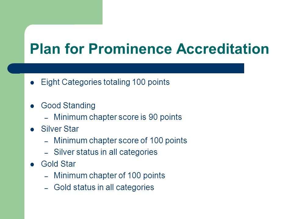Plan for Prominence Accreditation