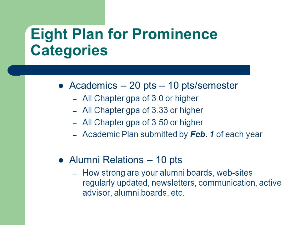 Eight Plan for Prominence Categories