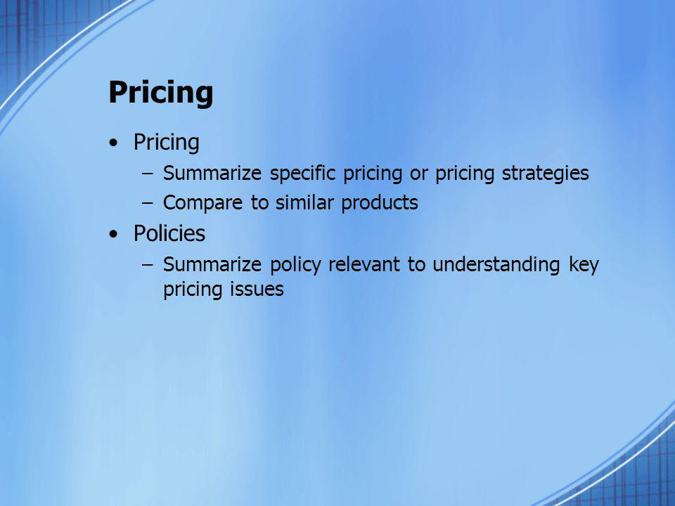 Pricing Pricing Policies