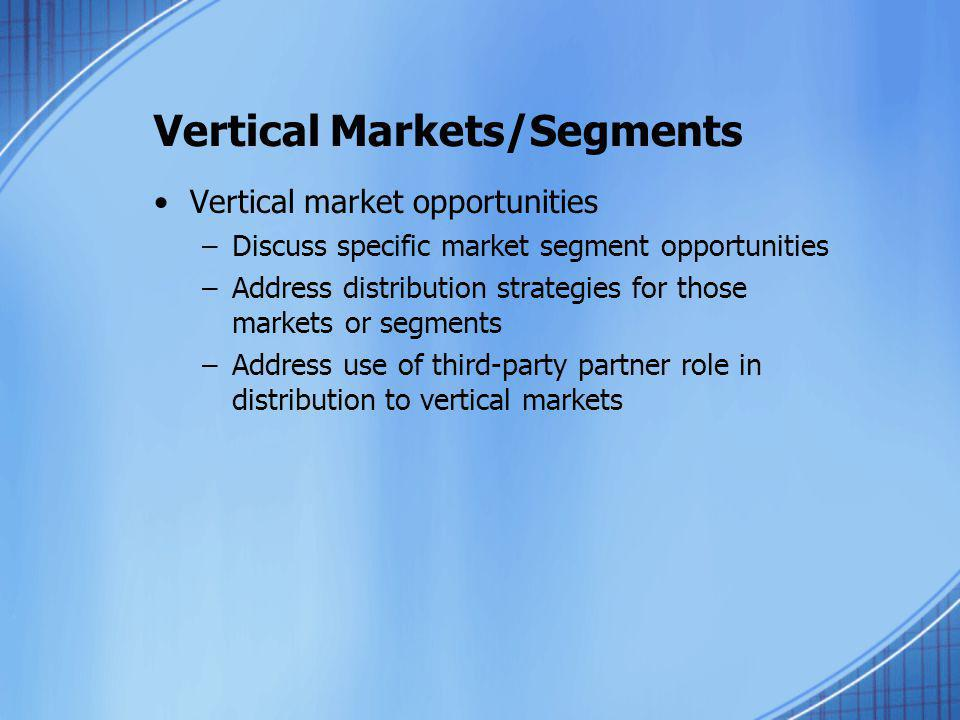 Vertical Markets/Segments