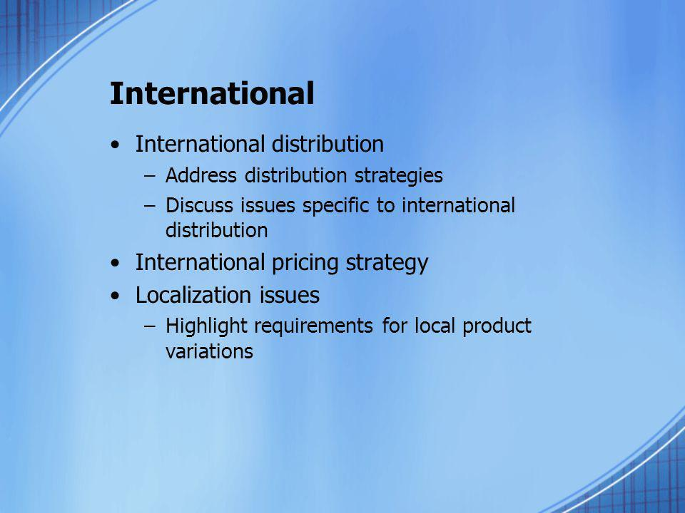 International International distribution
