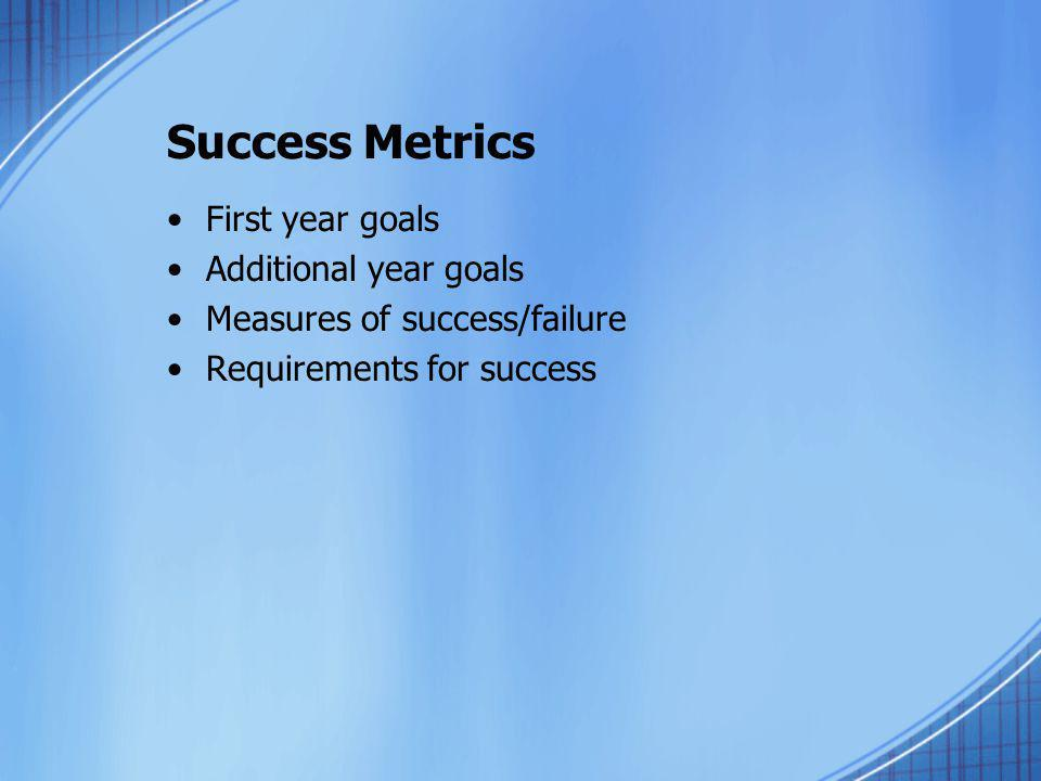 Success Metrics First year goals Additional year goals