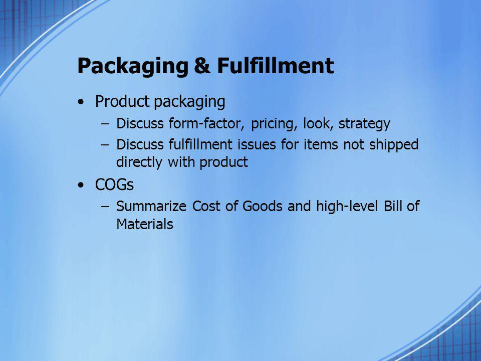 Packaging & Fulfillment