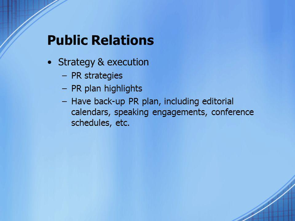 Public Relations Strategy & execution PR strategies PR plan highlights