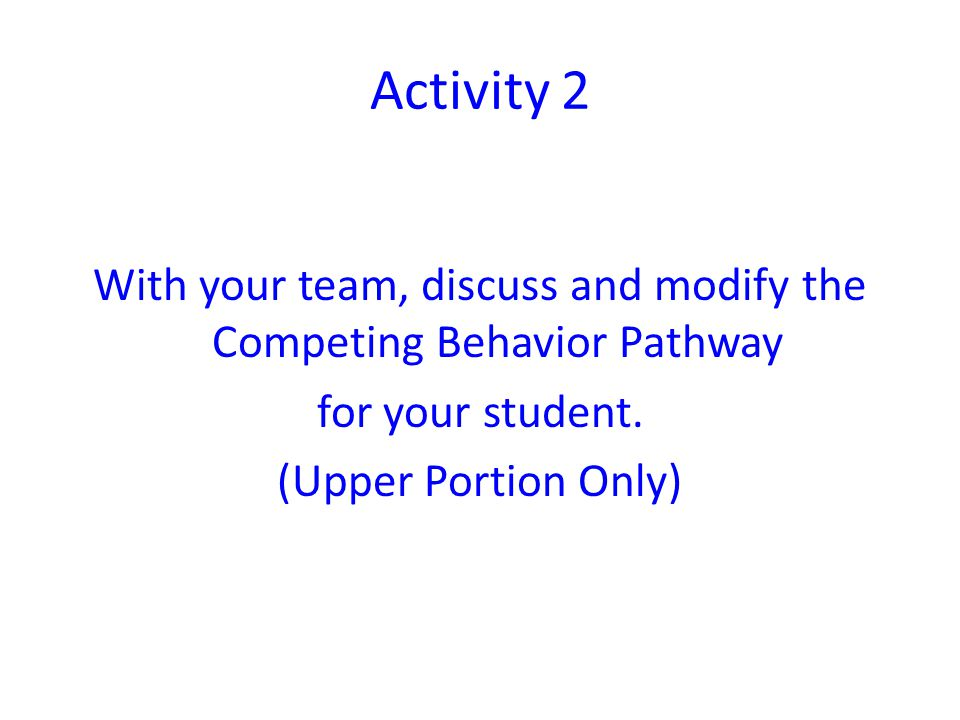 With your team, discuss and modify the Competing Behavior Pathway