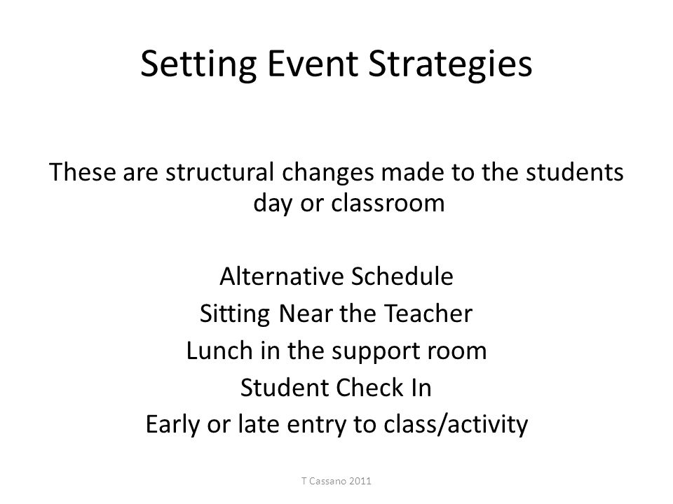 Setting Event Strategies