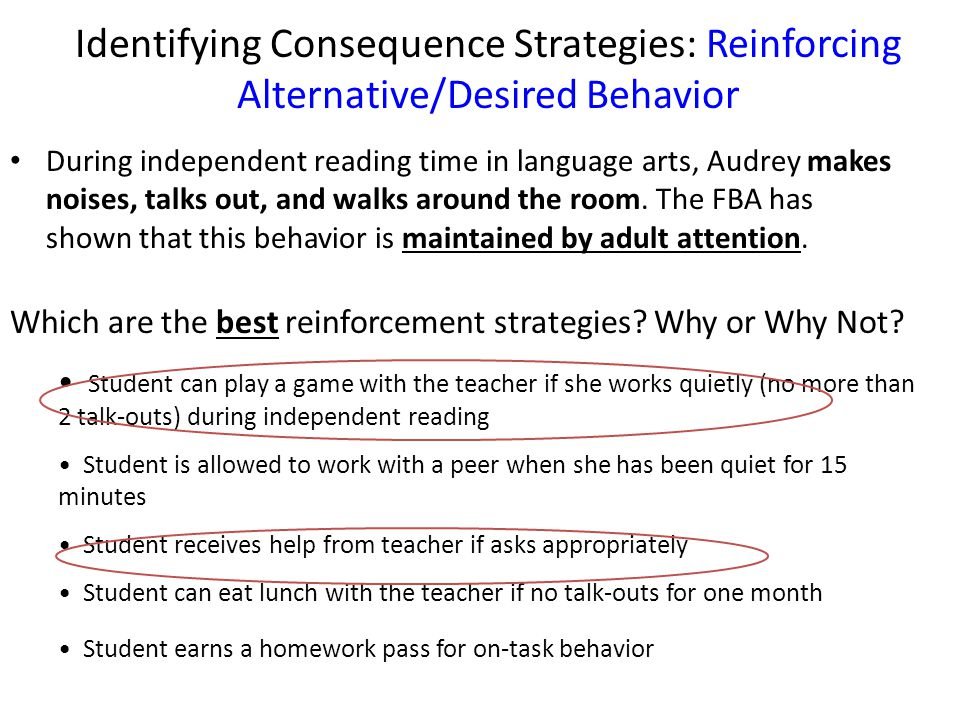 Identifying Consequence Strategies: Reinforcing Alternative/Desired Behavior