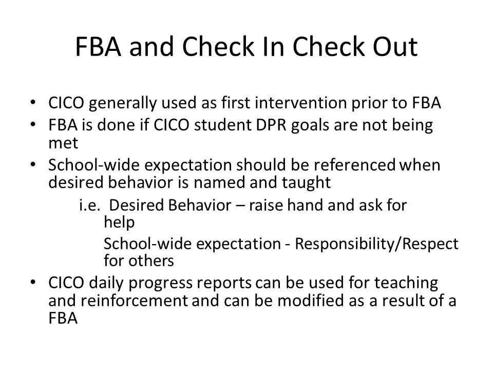 FBA and Check In Check Out