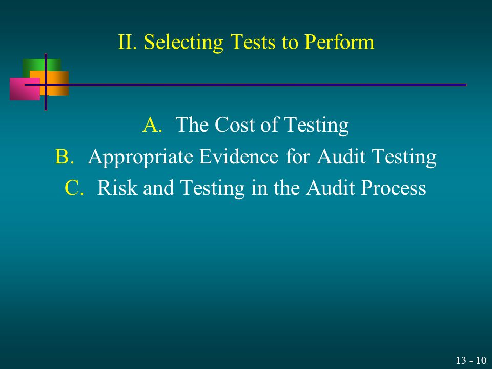 II. Selecting Tests to Perform