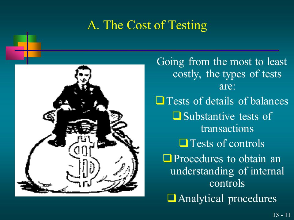 A. The Cost of Testing Going from the most to least costly, the types of tests are: Tests of details of balances.