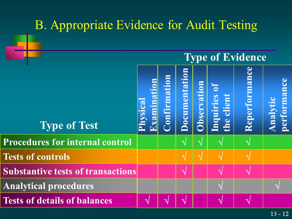 B. Appropriate Evidence for Audit Testing