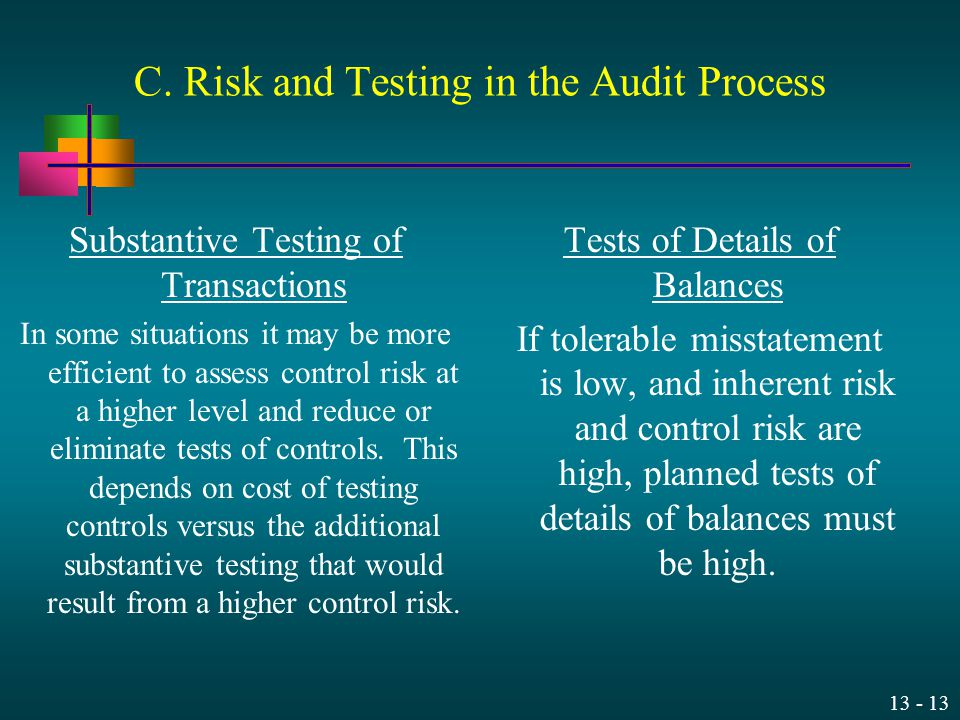 C. Risk and Testing in the Audit Process