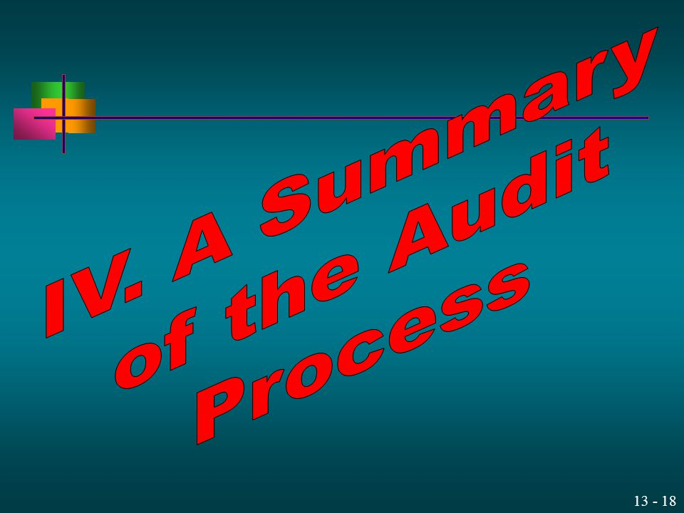 IV. A Summary of the Audit Process