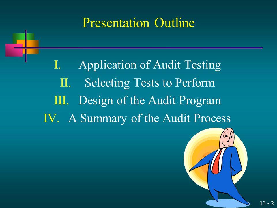 Presentation Outline Application of Audit Testing